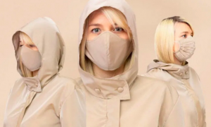 woman wear beige jacket with face mask included