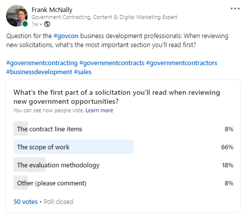 We asked government business development professionals to tell us which section of a solicitation they read first