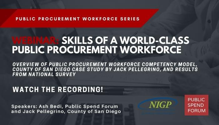 Recap & Recording: Skills of a World-Class Public Procurement Workforce