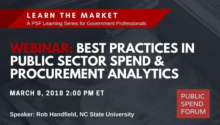 March 8 Webinar: Best Practices in Public Sector Spend & Procurement Analytics